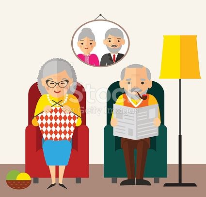 Vector Illustration of European age couple knitting reading and rest