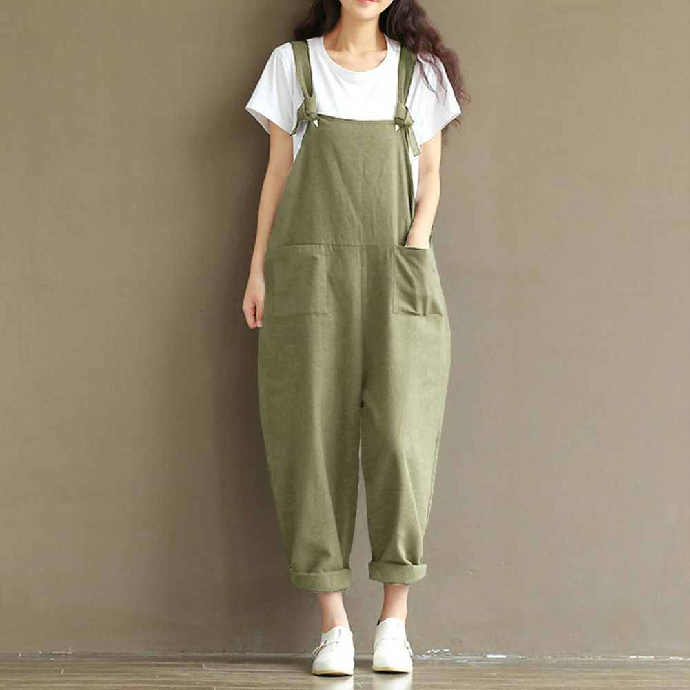 0e402453913e Find More Jumpsuits Information about Romacci Women Fashion Jumpsuit  Oversize Overalls Solid Sleeveless Pockets Wide Leg