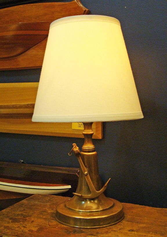 Brass Nautical Table Lamp With Mounted Anchor Made By The Perko Perkins  Marine Lamp Company As