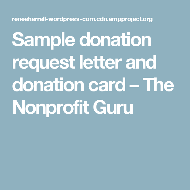 Sample Donation Request Letter And Donation Card  The Nonprofit