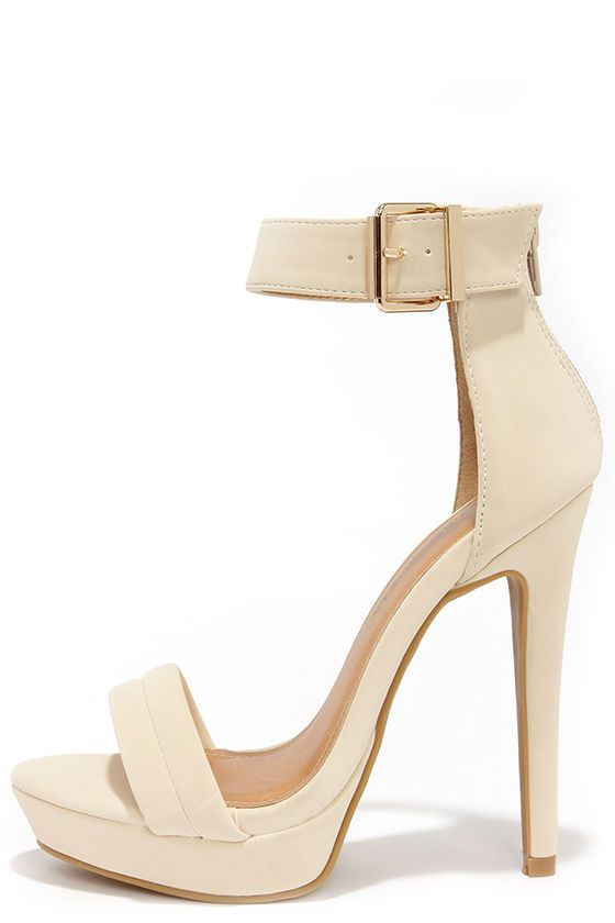 2d54d8d71d95 Sexy Suede-y Nude Ankle Strap Heels at Lulus.com!