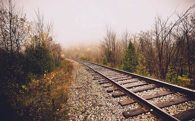 Rail Track In Foggy Weather Wallpaper