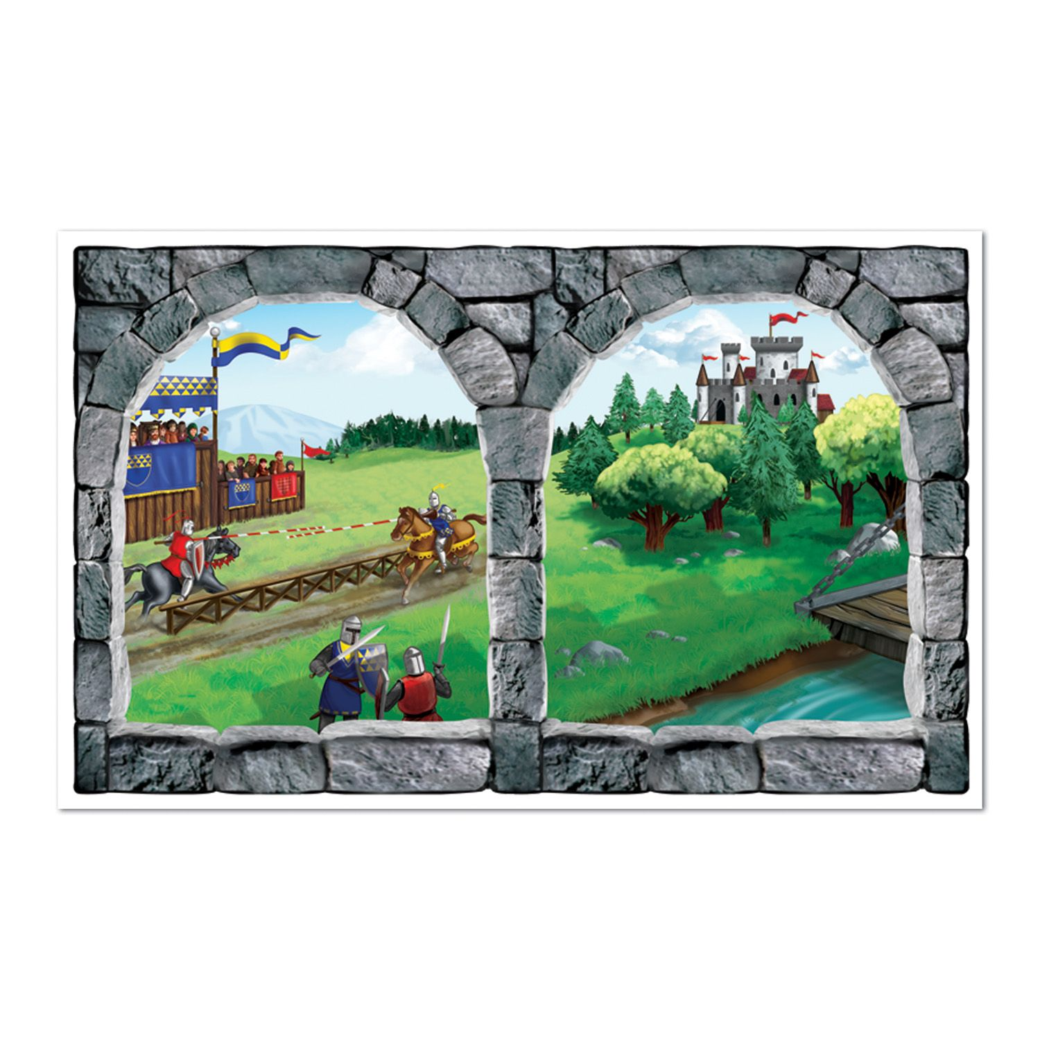 Castle Window Insta-View .  Set a medieval scene with this Castle Window prop and decorate your room with a view to a Knight's Kingdom complete with jousters.  Package includes (1) prop that each measures 96.5 cm x 1.57 m; Made of lightweight plastic.  Indoor/outdoor use.
