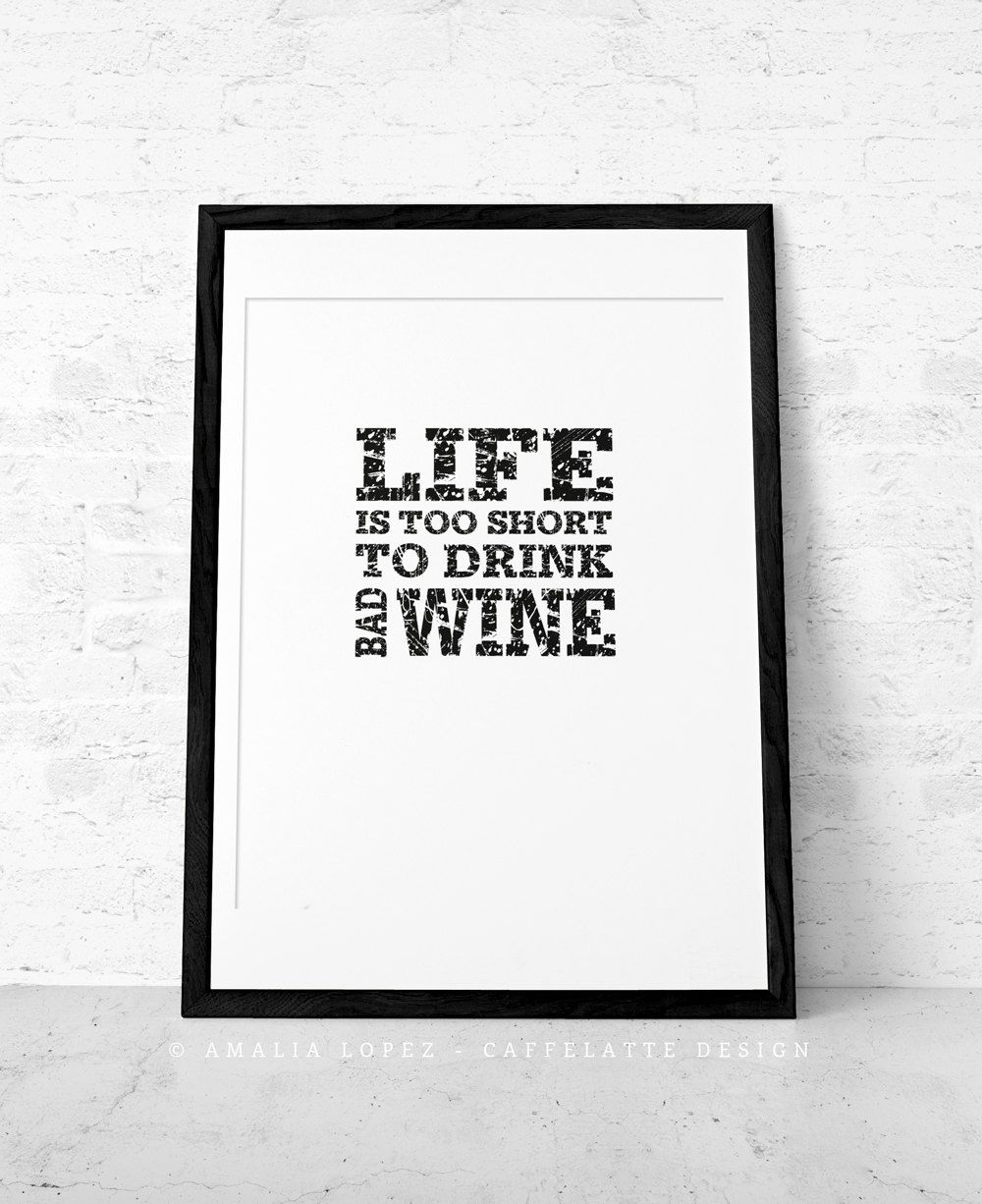 Wine print Wine poster Wine quote print Quote poster Kitchen art ...