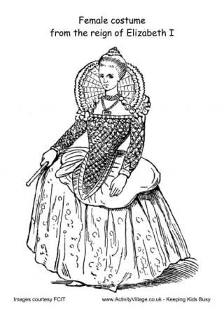 Tudor Costumes Colouring Pages l Female Costume Reign Of