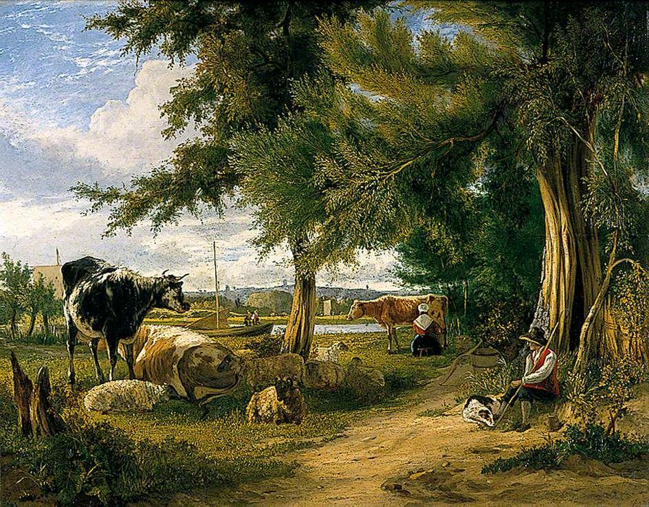 pastoral scenes antique painting Pastoral Scene