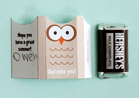 "cute for school friends! ""owl miss you...hope you have a great summer!"""