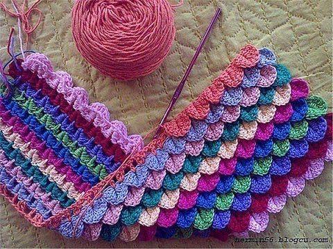 كروشيه فيونكة بغرزة قشور السمك Crochet Crocodile Stitch Bow ...
