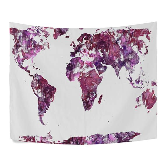 Watercolor world map purple tapestry wall hanging red global map watercolor world map purple tapestry wall hanging red global map wall decor art for living room bedroom dorm purple tapestry tapestry wall hanging and gumiabroncs Choice Image