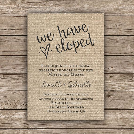 Wedding Reception Invitation Wording Funny: Printable Elopement Reception Invitation, We Eloped, Tied