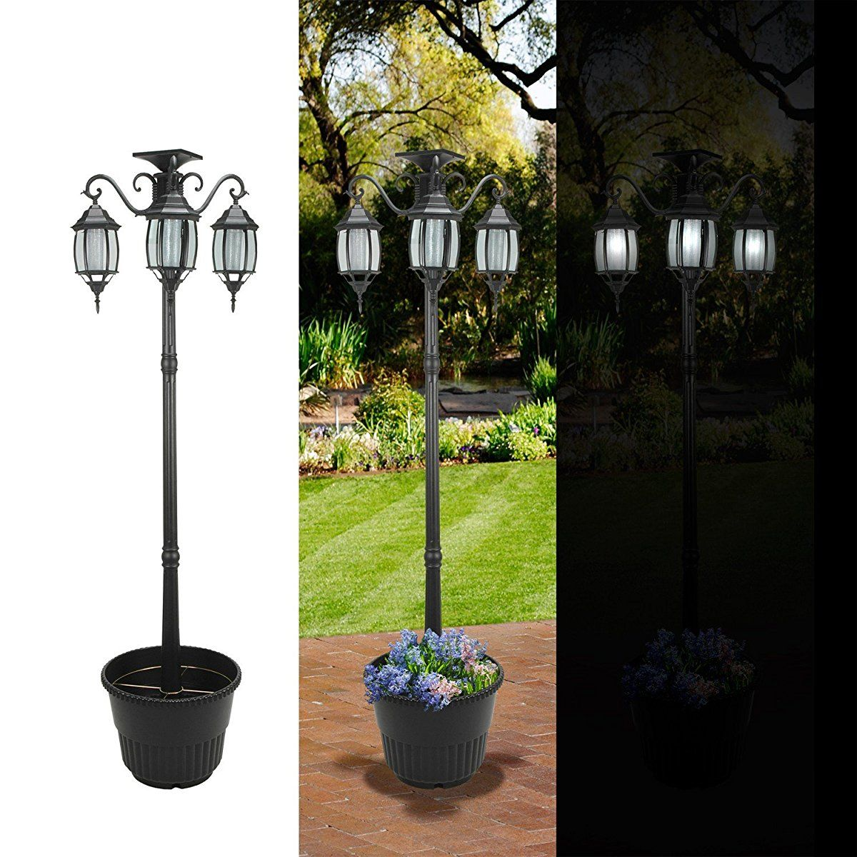 6.7 ft (80 in) Tall Solar Lamp Post and Planter 3 Heads