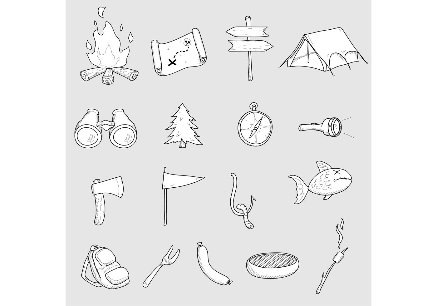 Set of 17 camping vector doodles  Free for offline personal