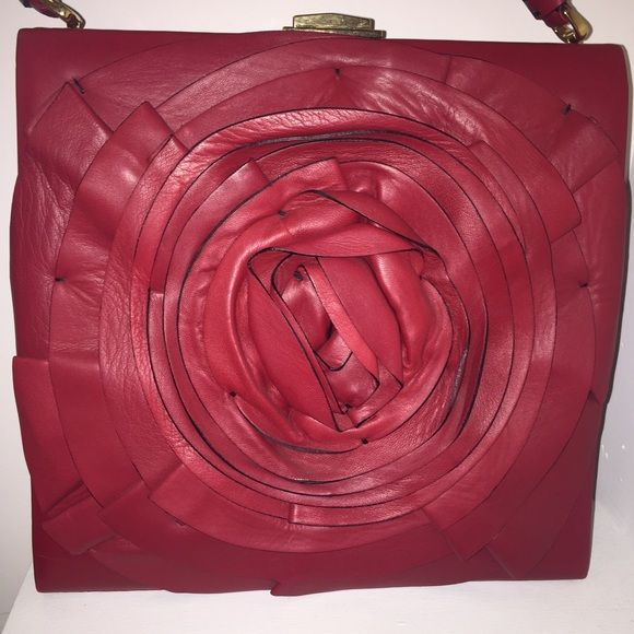 Red Valentino Red leather bag with flowers gaSJtrD9x