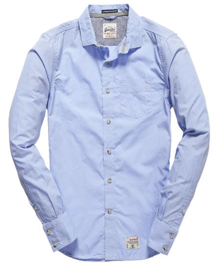 Shop Superdry Mens Cut Collar Shirt in End On End Sky Blue. Buy now with  free delivery from the Official Superdry Store.