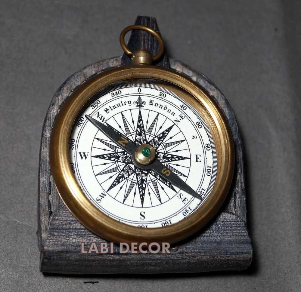 Vintage Royal Brass Compass Antique Navy Locket Leather Case Steampunk Fashion Steampunk Fashion Vintage Compass Locket