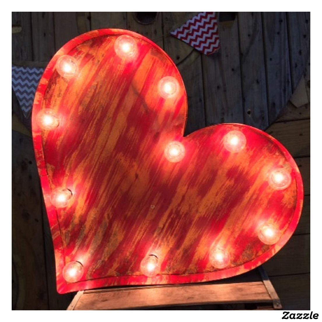 Rustic Red Vintage Heart Lighted Marquee Sign Zazzle