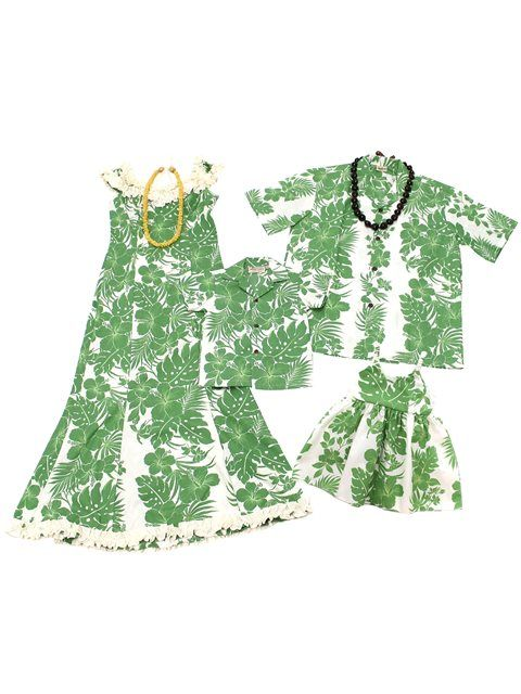 af9c0b8a768 Familu Matching Hawaiian Outfits Hibiscus Panel   Green