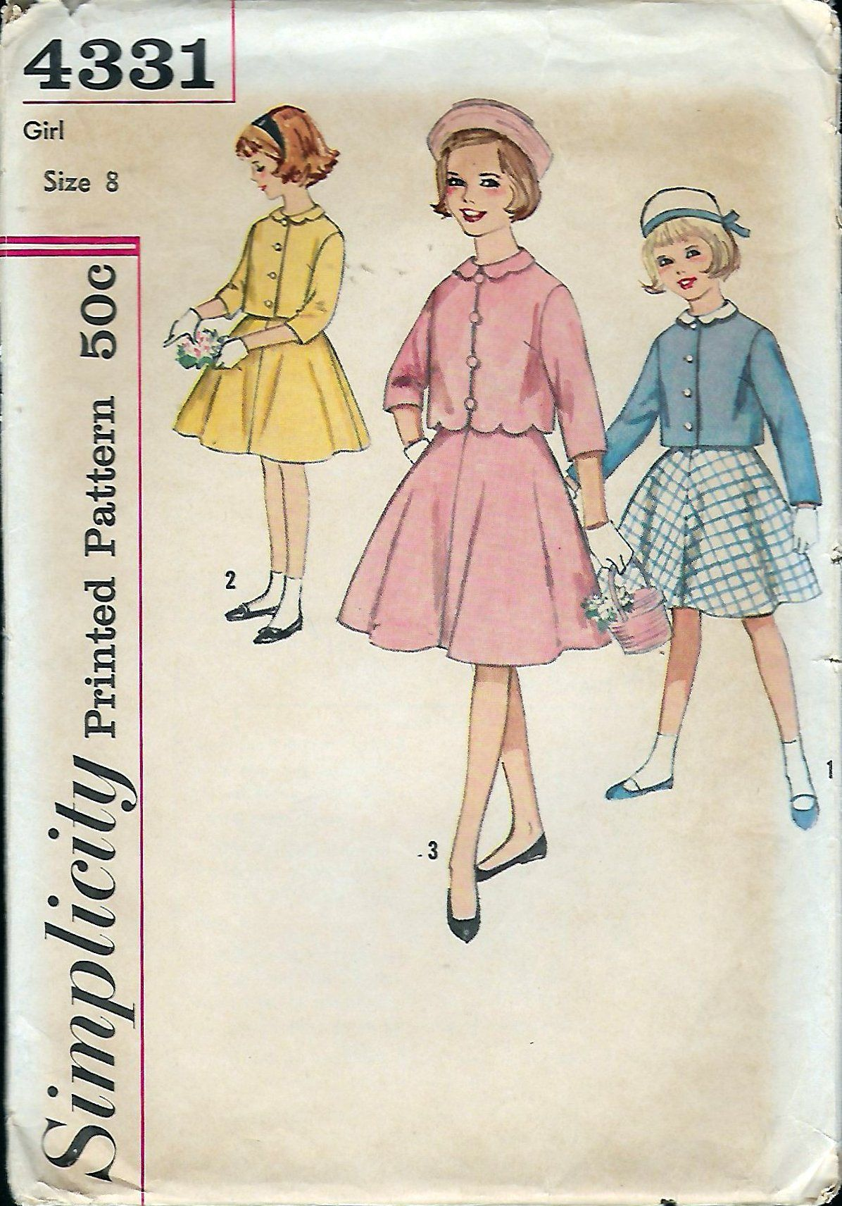 Vintage 1962 Simplicity 4331 Girl\'s Suit With Detachable Collar ...