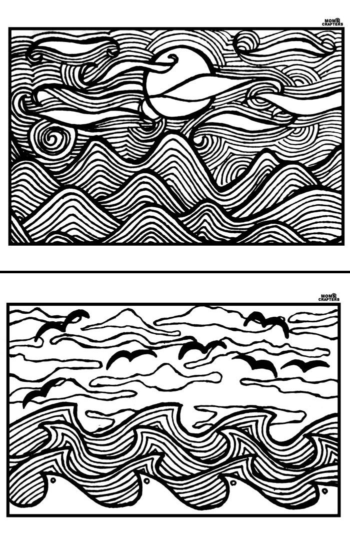 Free Printable Coloring Pages for Adults - Sunsets u0027n Scenes Adult - fresh abstract ocean coloring pages