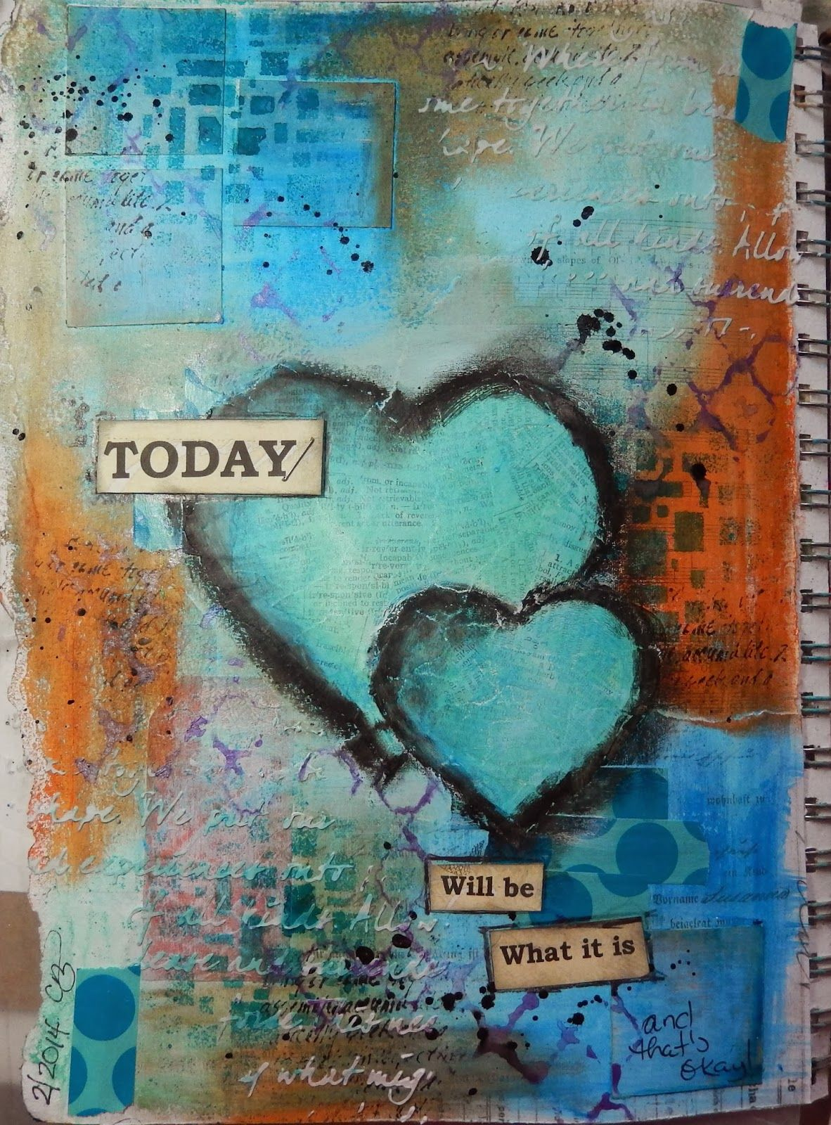 Describes the process ......Today: mixed media Art Journal page by Christy Butters #artjournalmixedmediainspiration