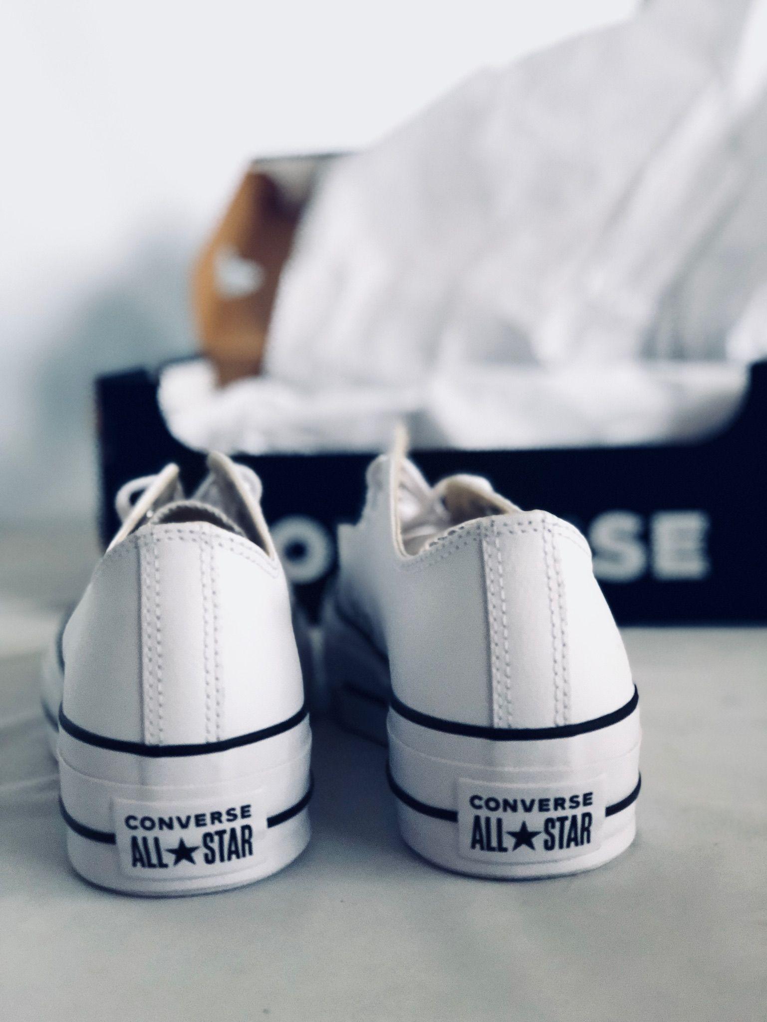 zapatillas converse mujer blancas plataforma piel