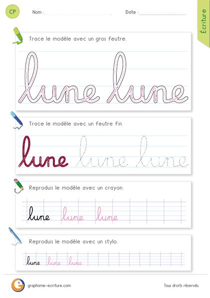 Apprendre à écrire le mot lune en minuscules cursives. | écriture ...