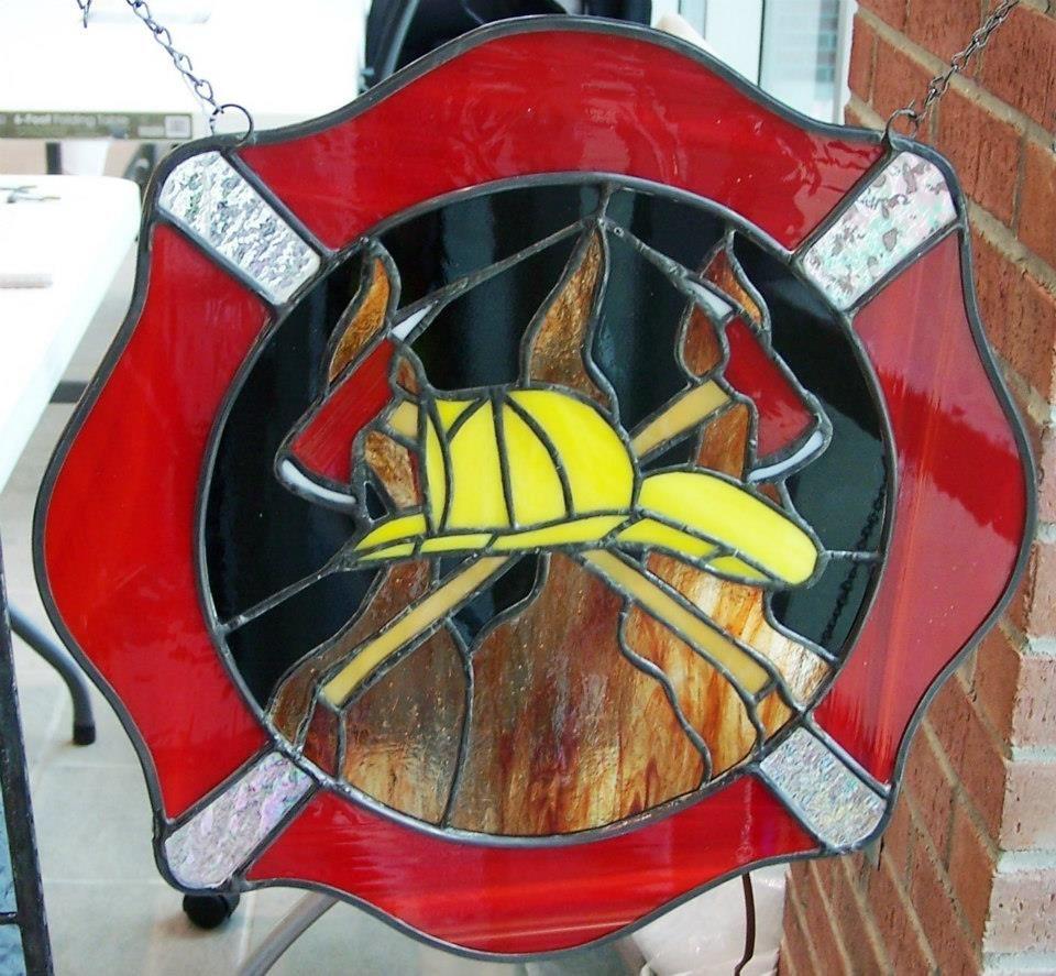 Fireman Gift Stained Glass Mosaic Suncatcher