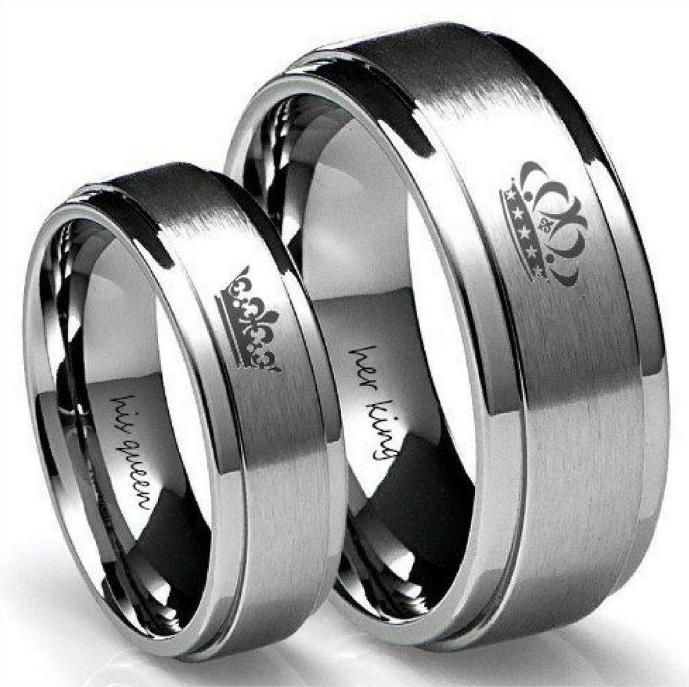 His queen her king rings tungsten ring set camo