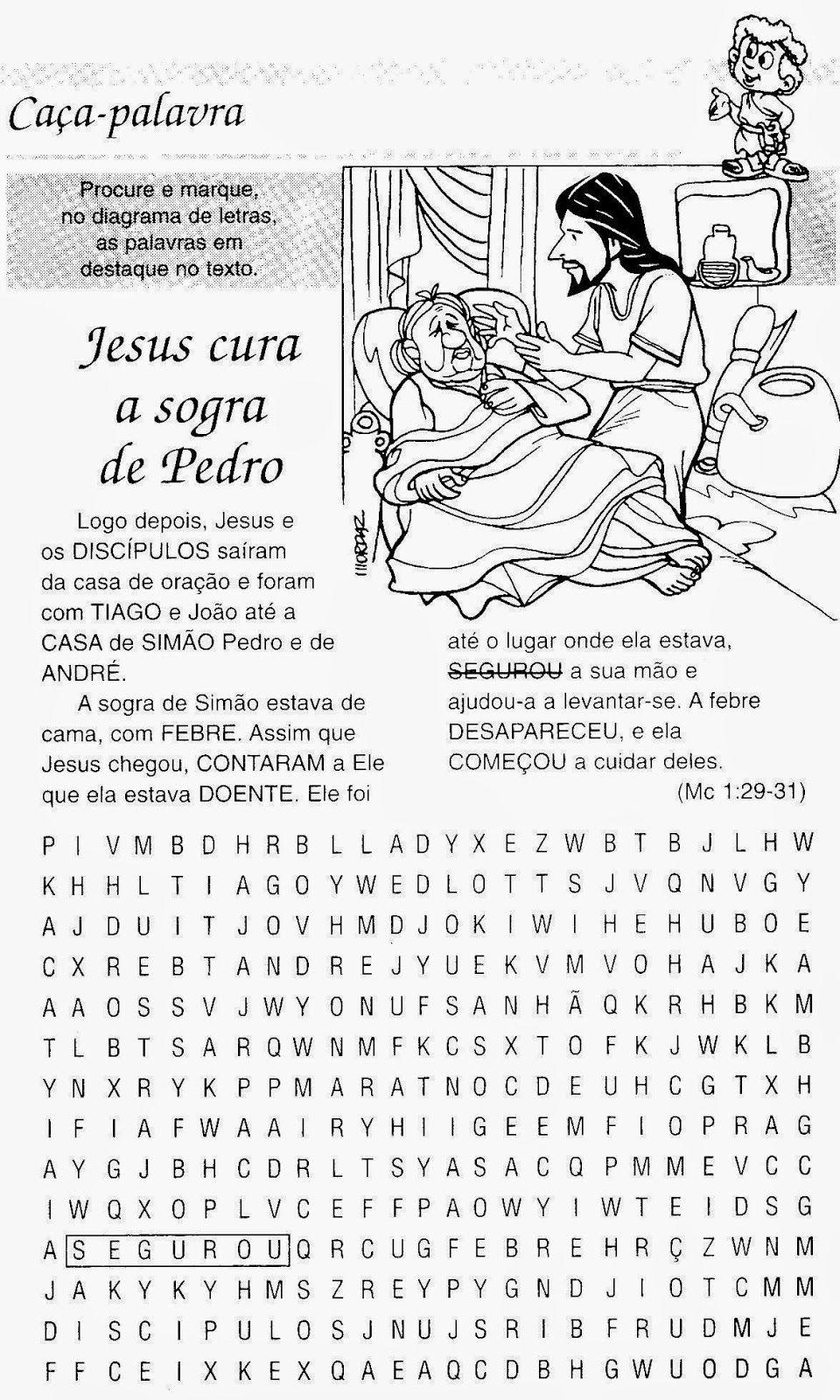 Escola Dominical Infantil: Caça-palavras: Jesus cura a sogra de ...