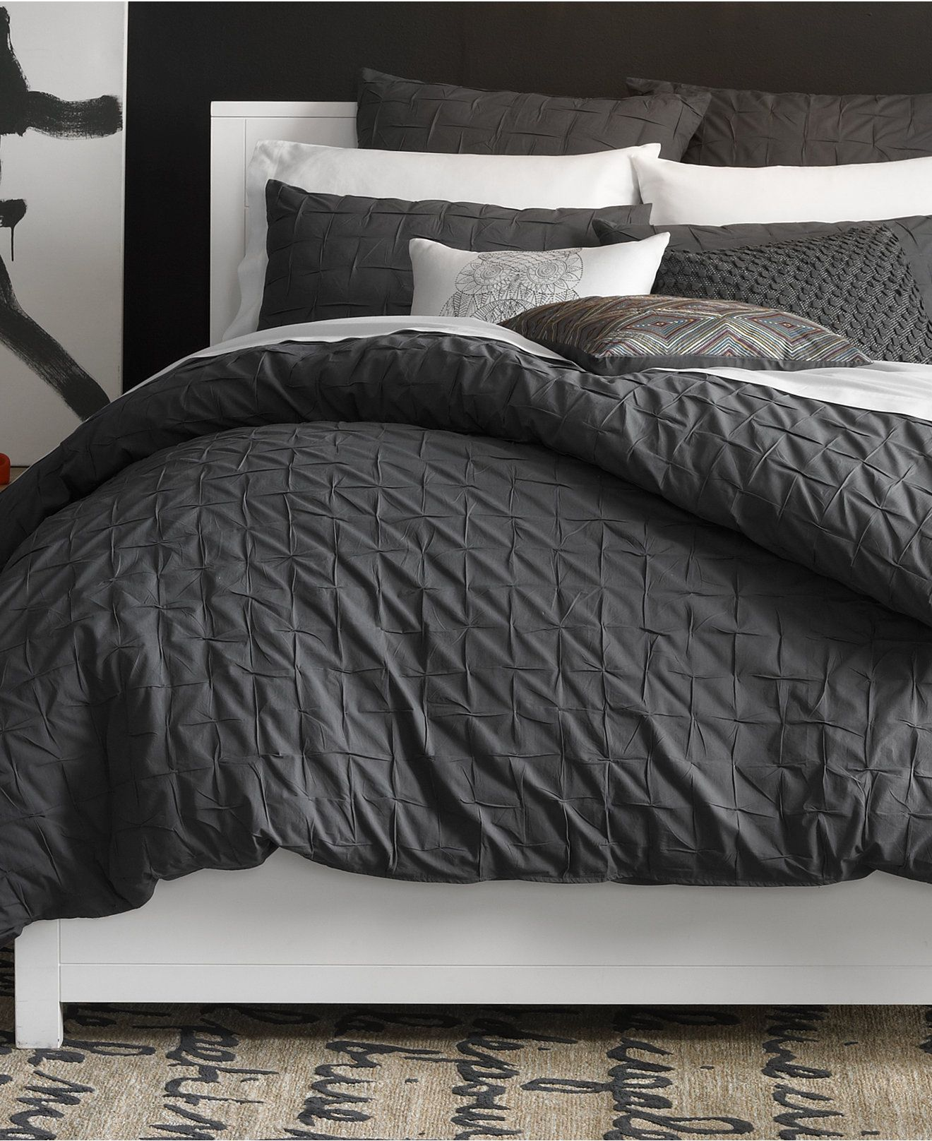 bar iii box pleat carbon collection - bedding collections - bed