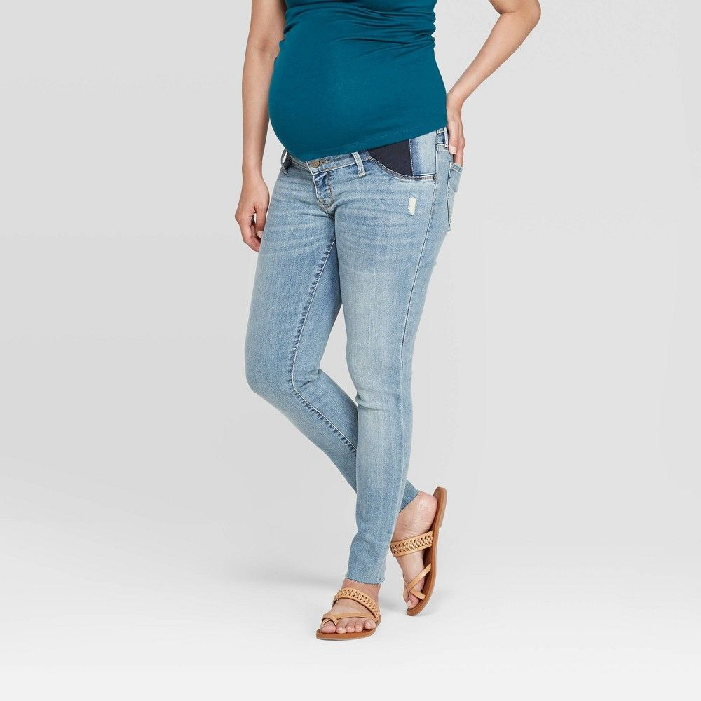 Size 0 Women/'s Mid~Rise Raw Hem With Side Slit Skinny Jeans Universal Thread