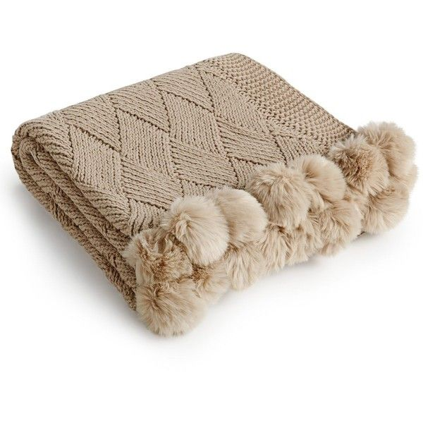 Martha Stewart Collection Basketweave Pom Pom Throw, ($54) ❤ liked on Polyvore featuring home, bed & bath, bedding, blankets, mink, faux fur throw blanket, martha stewart bed linens, fake fur throw, pom pom blanket and basket weave throw