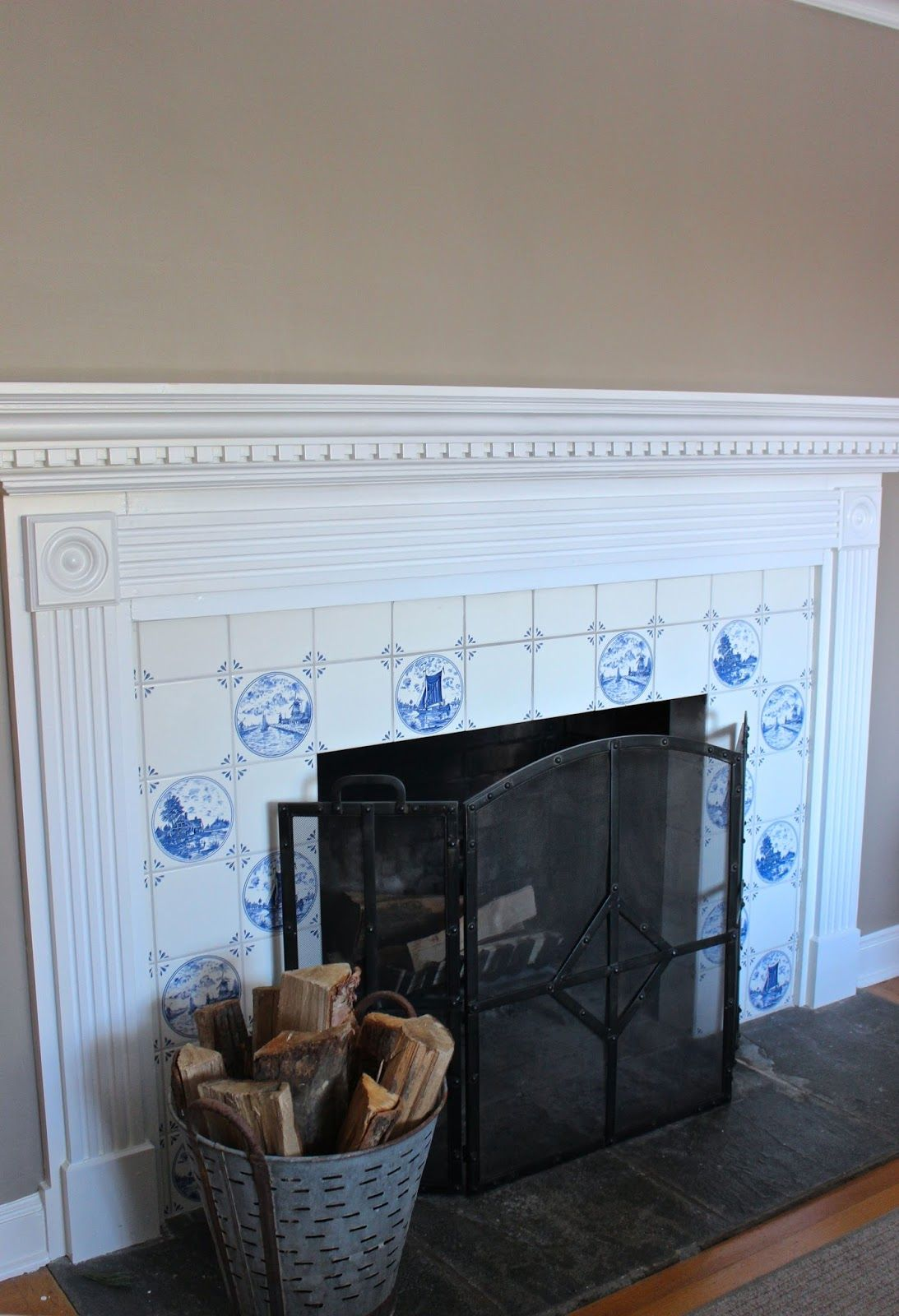 My Blue White Fireplace Tile Should It Stay Or Go Driven By Decor Fireplace Tile White Fireplace Fireplace Remodel