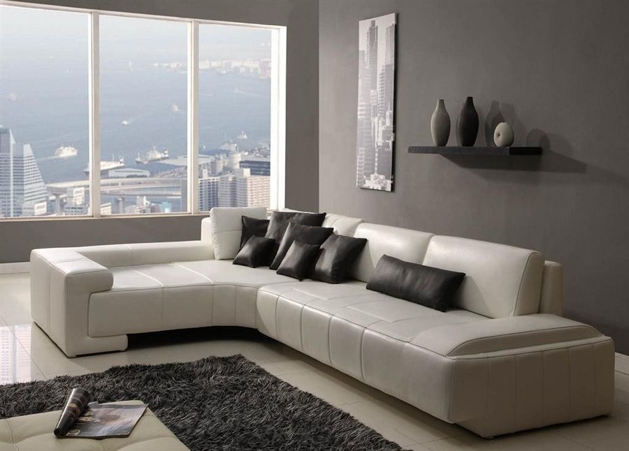 Franco Collection Modern Sectional Sofa White Chaise On Left Facing Contemporary Sectional Sofa Contemporary Leather Sofa Modern Sofa Sectional
