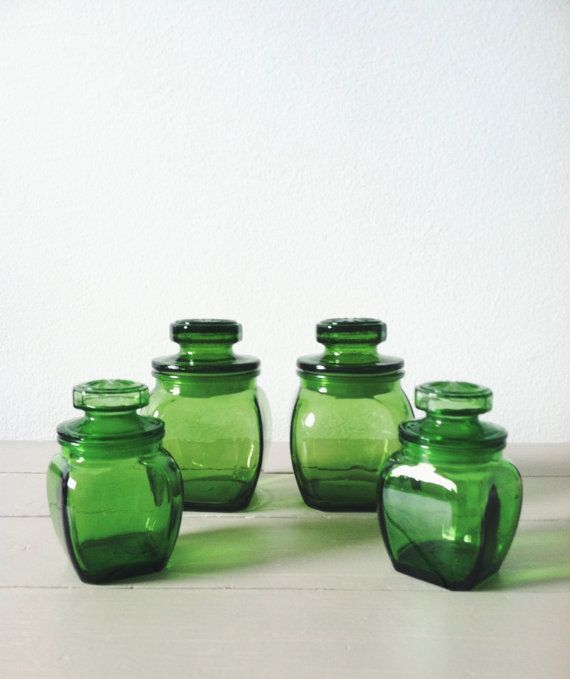Green Glass Canister Set . Emerald Glass . Apothecary Jars . Glass  Containers . Spice Jars . Glass Canisters . Kitchen Canisters