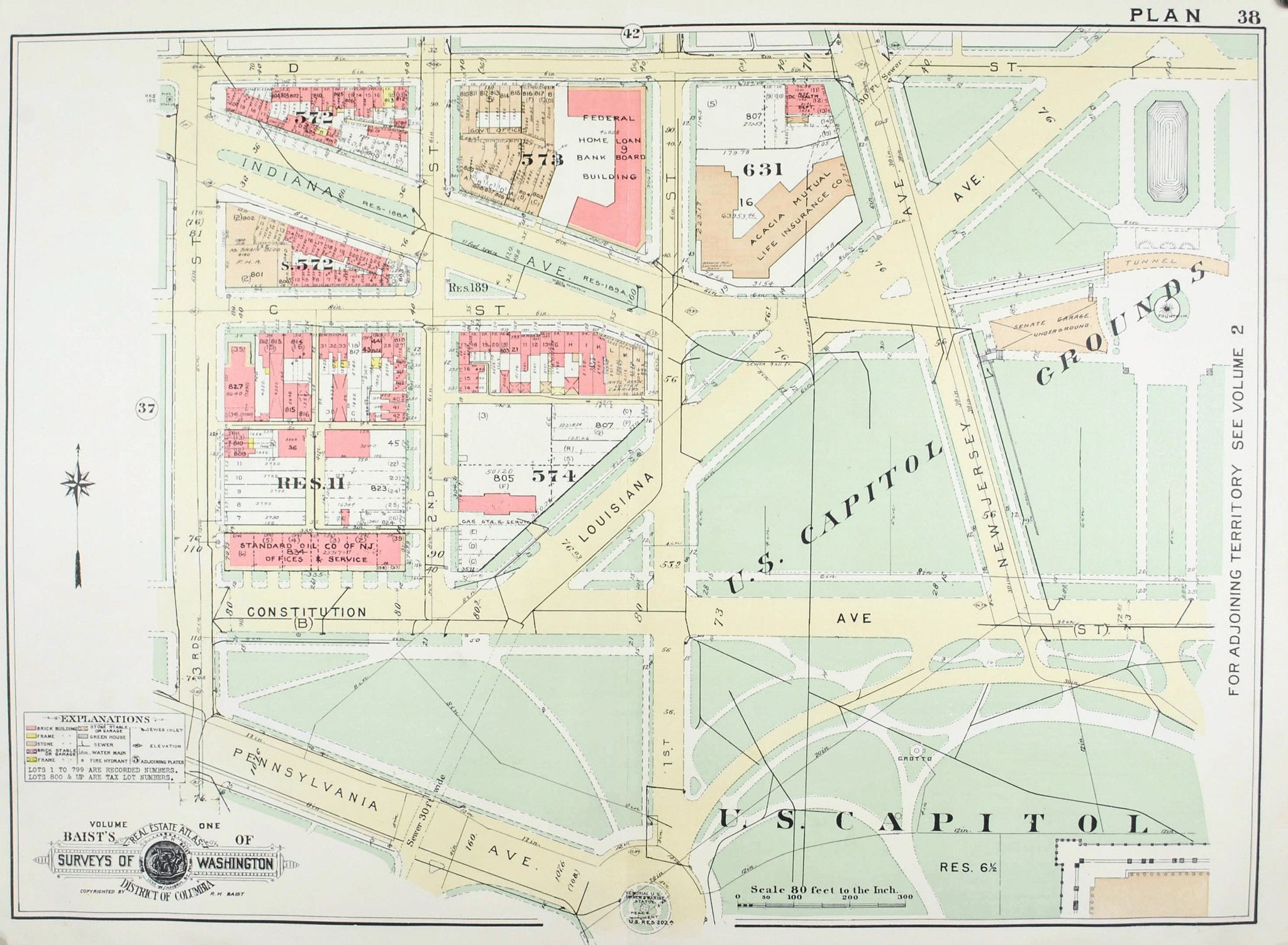 Washington DC US Capitol Grounds Vintage Baist City Map - Map of the us capitol