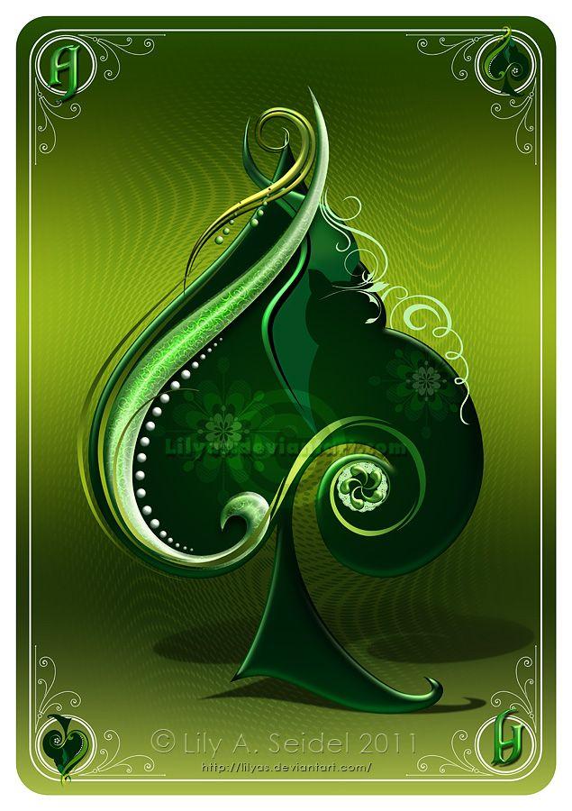 Ace of Spades GREEN by Lilyas deviantart com | Casino