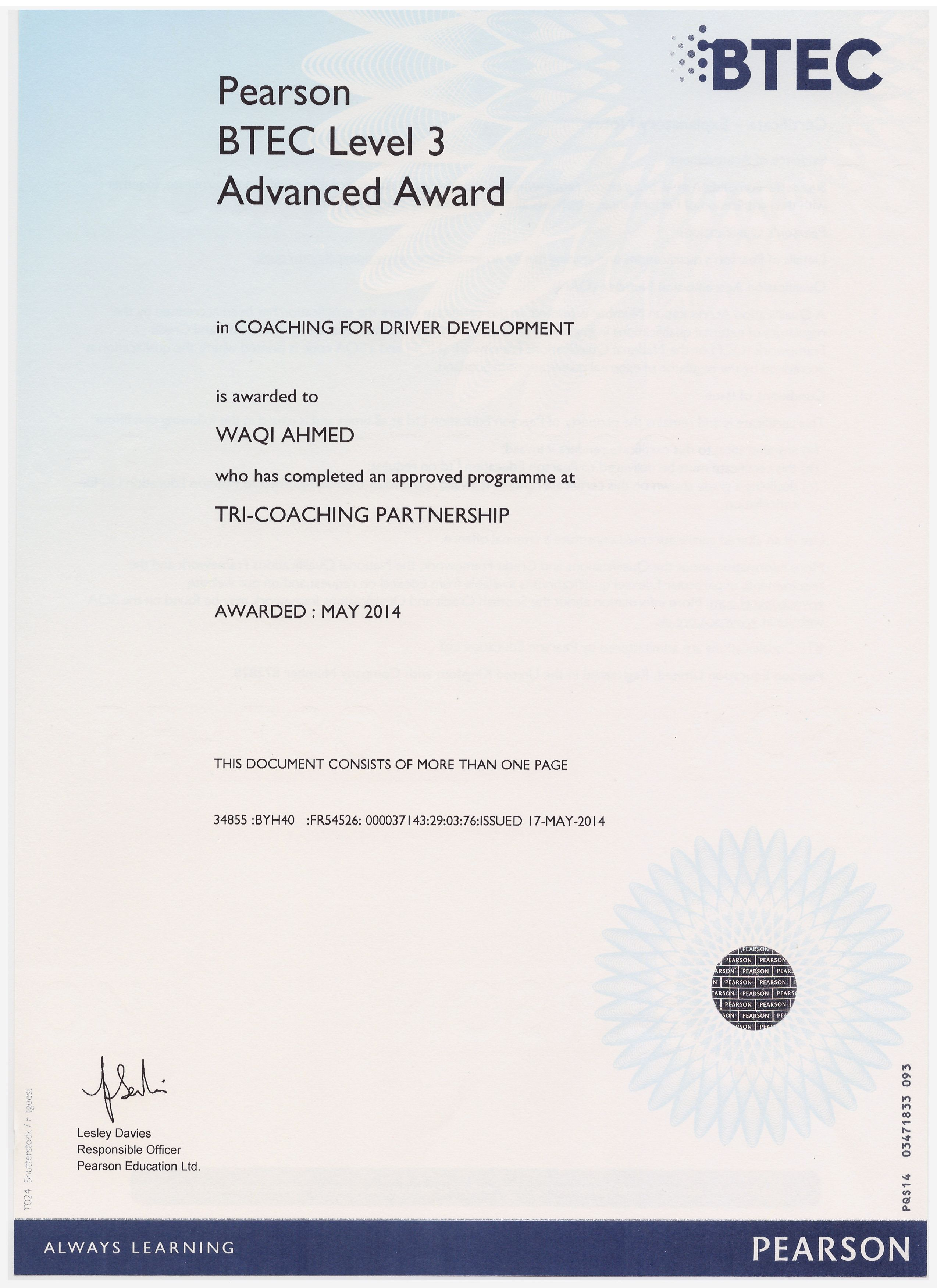 Btec Award In Coaching For Driver Development The Btec Level 3