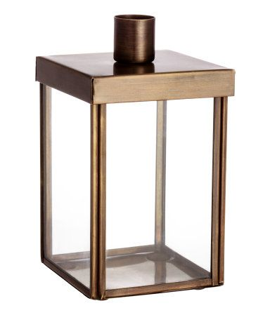 Combination Candle Holder And Storage Box In Brushed Metal And Glass.
