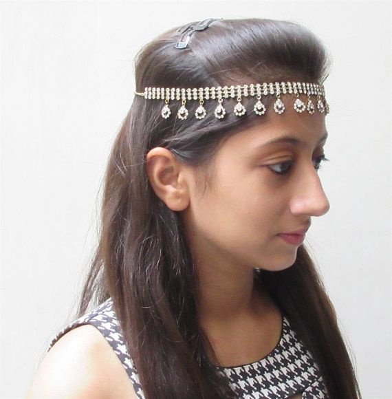 Silver Head chain/Boho Head Chain/Wedding Bridal by Beauteshoppe