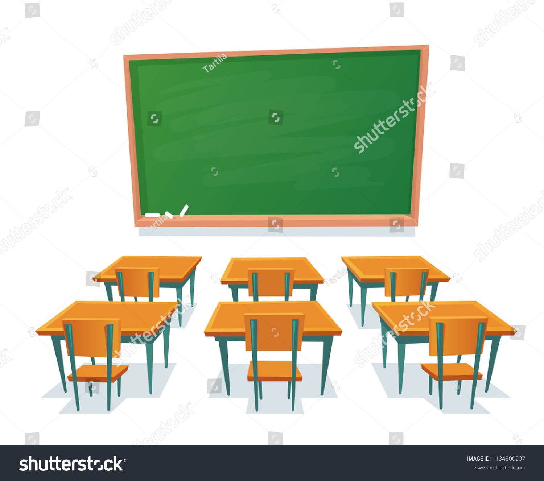 School Chalkboard And Desks Empty Blackboard Elementary Classroom Wooden Desk Table And Chair Educatio Wooden Desk Table School Chalkboard Aesthetic Template
