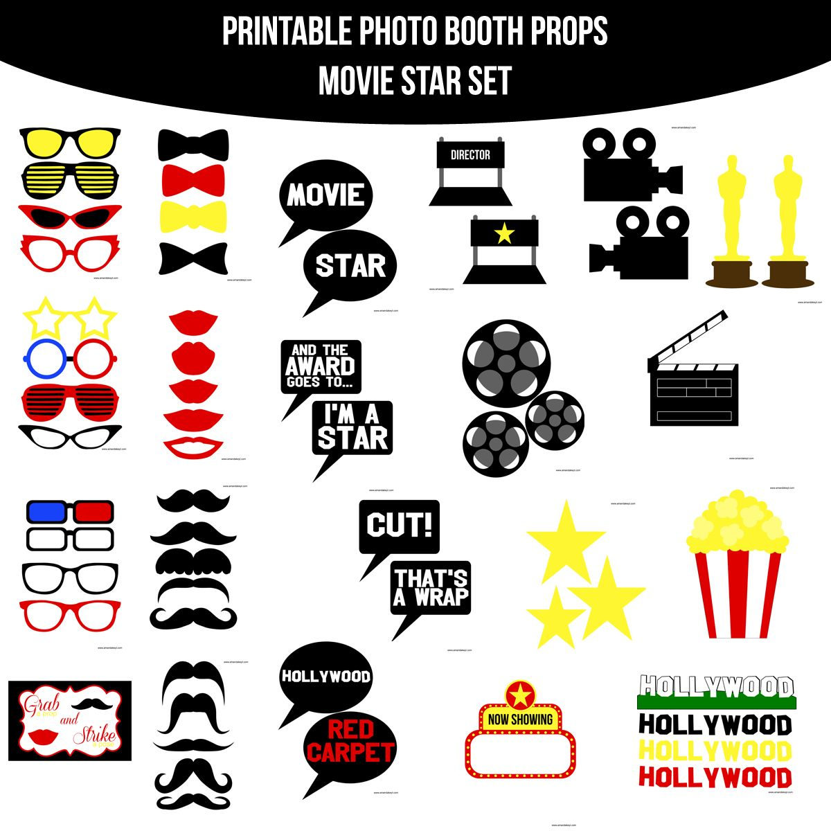 Instant Download Movie Star Printable Photo Booth Prop Set ...