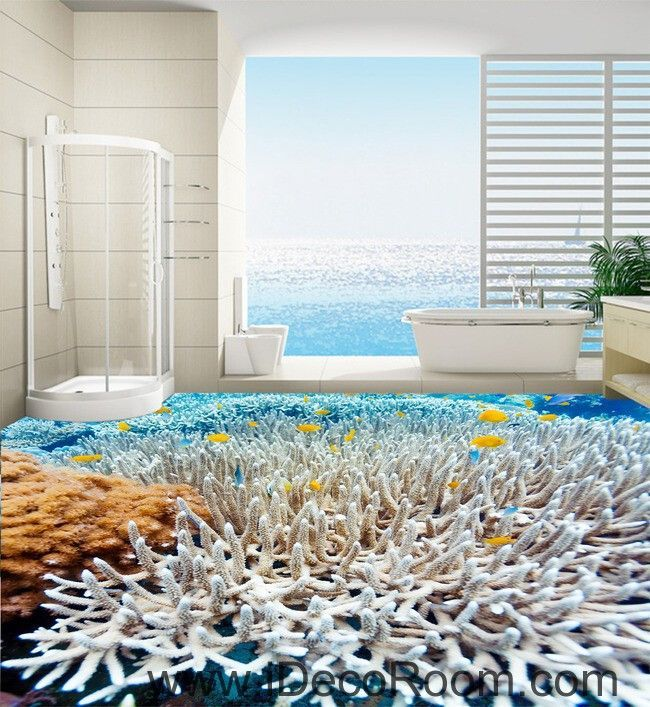 White Coral Under The Sea 00026 Floor Decals 3D Wallpaper Wall Mural  Stickers Print Art Bathroom Decor Living Room Kitchen Waterproof Business  Home Office ...