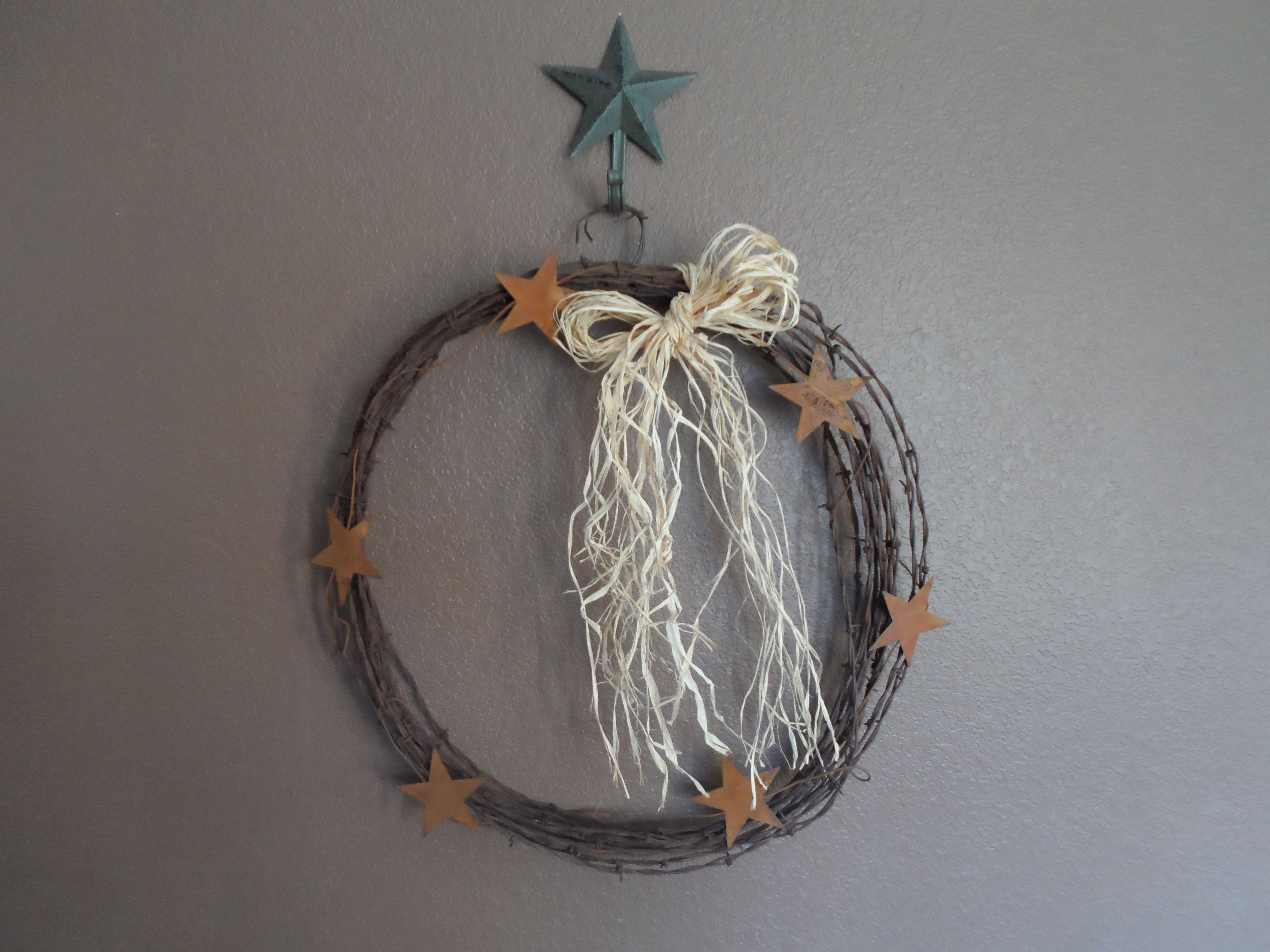 Rusty barbed wire wreath   old window frames   Pinterest   Barbed ...