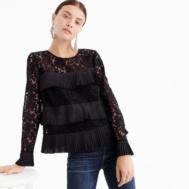 1dabb7fc36f8 J. Crew Lace top with pleats - Black | MY CLOSET | Black lace blouse ...