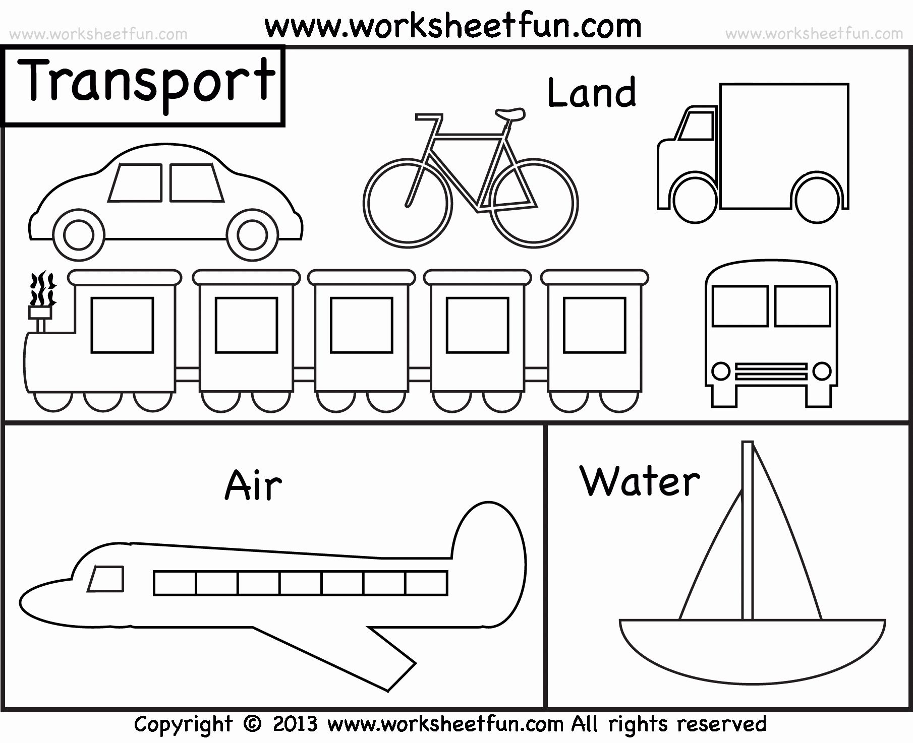 Transport Coloring Worksheet Printable In With