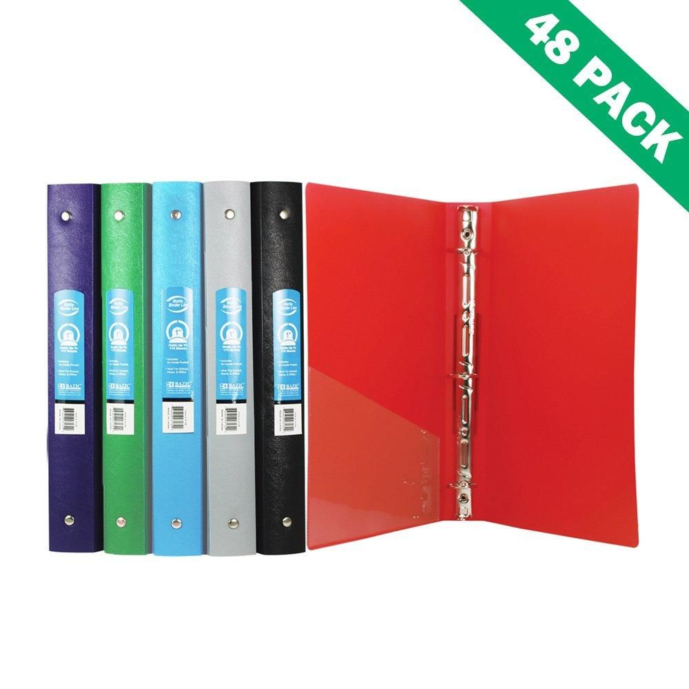 three ring binder file office school poly 1 inch binders with