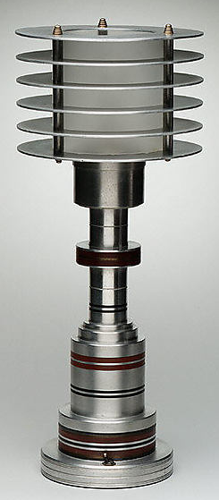 Art Deco table lamp manufactured by Pattyn Products Co., Detroit, Michigan, c. 1935, aluminum, Bakelite and glass. American adaptation of the Bauhaus aesthetic.