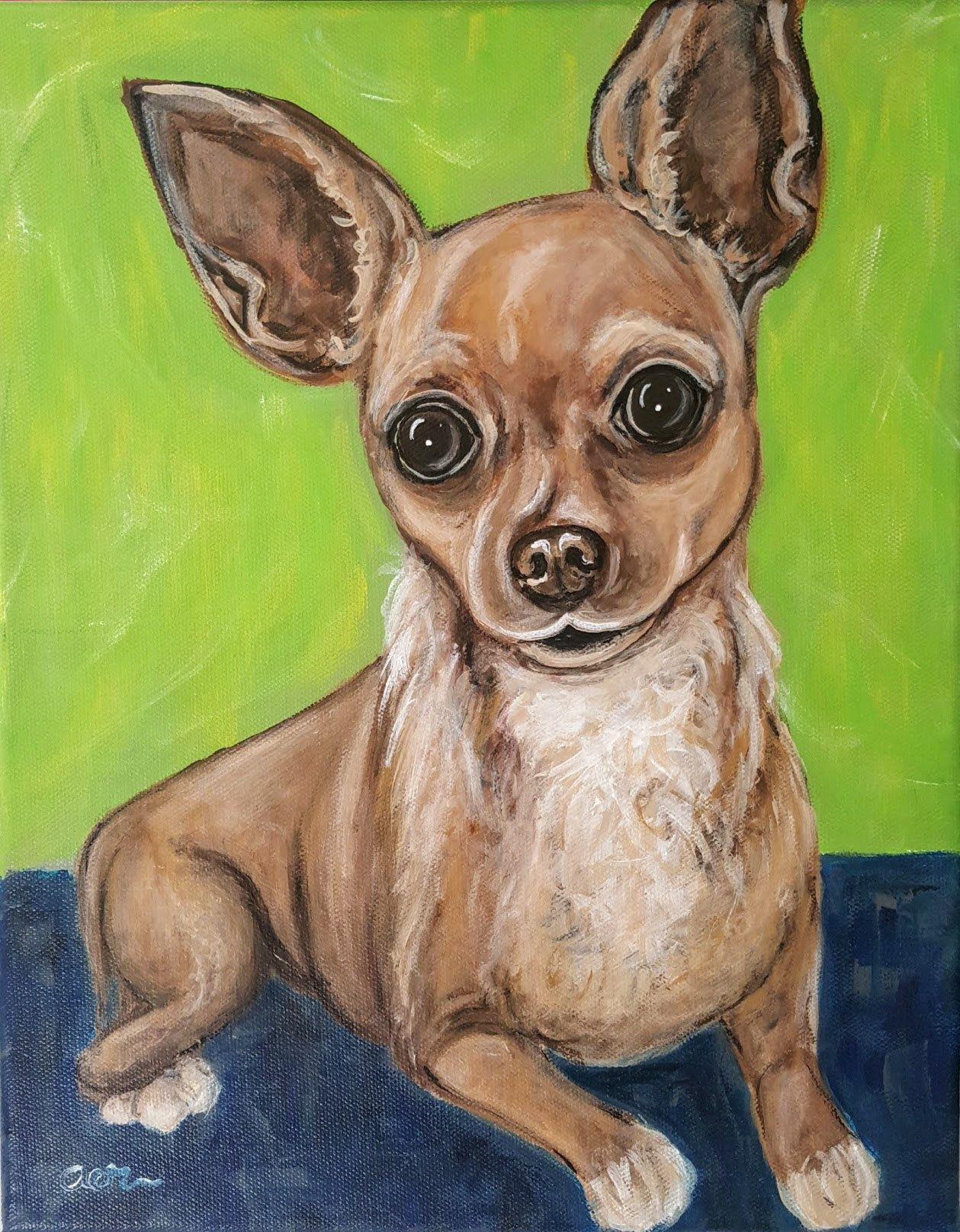 Custom Pet Portrait, Acrylic dog painting, Cartoon dog