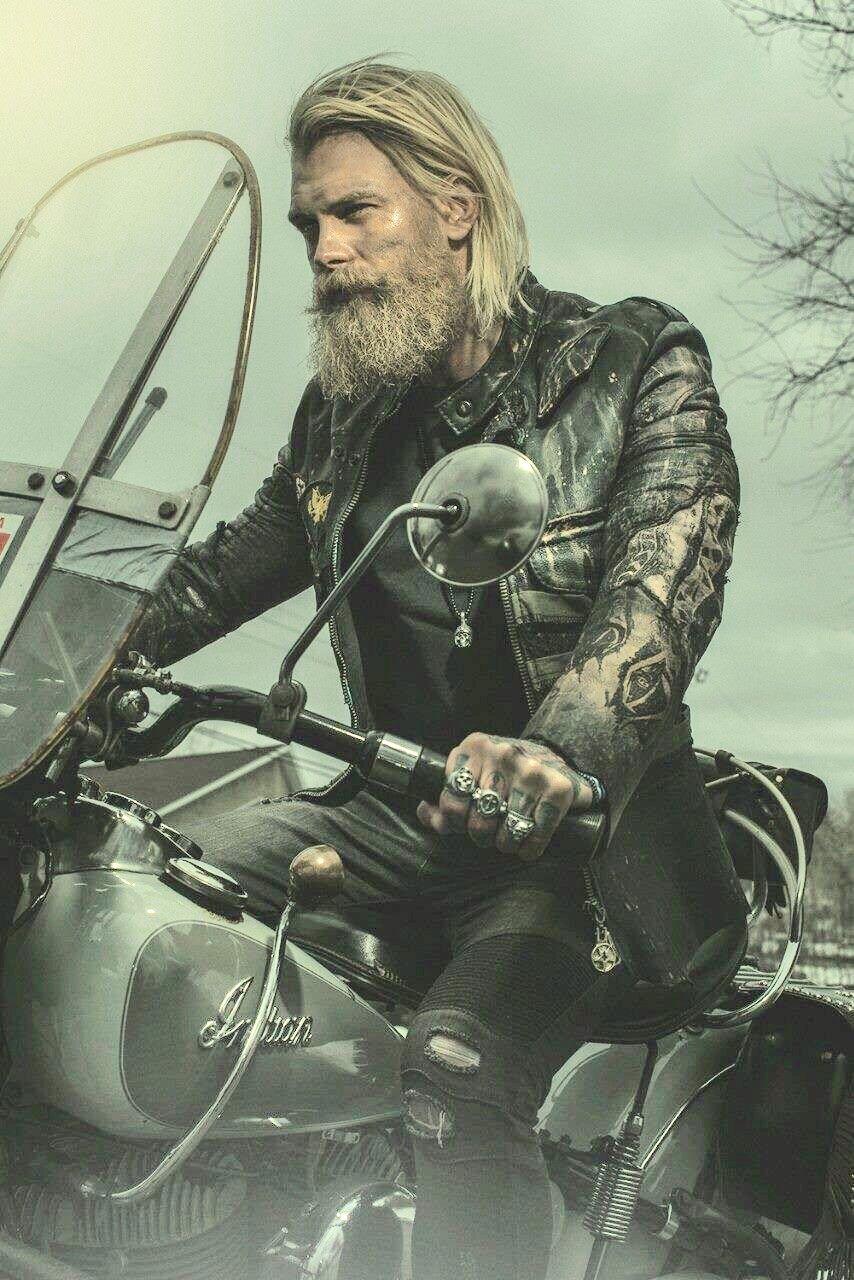 Longhaired biker bi males